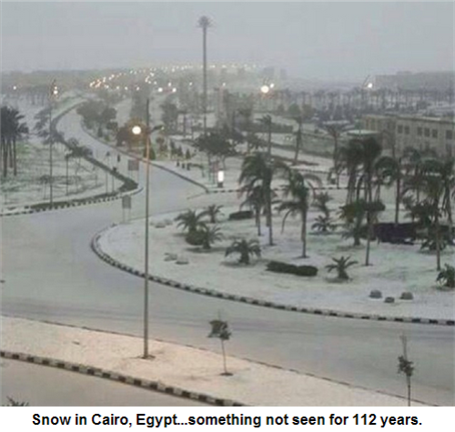 Snow in Cairo, Egypt...