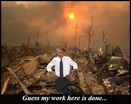 Obama surveying his destruction...