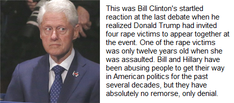 Bill Clinton startled by appearance of four rape victims