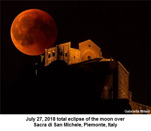 Blood moon eclipse over Italy on July 27, 2018