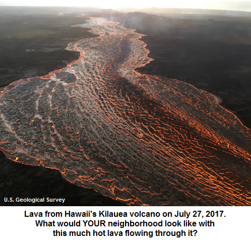 Lava flow from Kilauea volcano, 7/27/2018